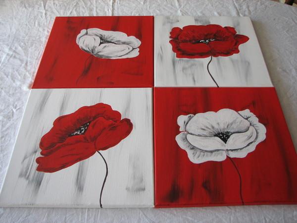 Tableau modulable les rouge et blanc for Tableau blanc et rouge