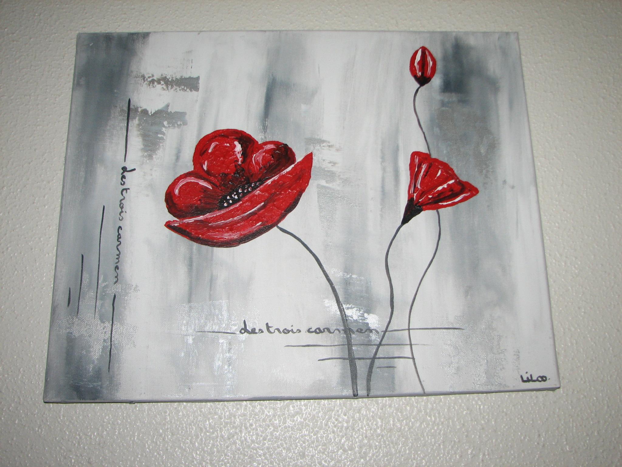Coquelicot gris blanc rouge - Peinture gris rouge ...
